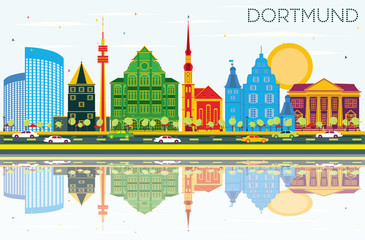 Dortmund Germany City Skyline with Color Buildings, Blue Sky and Reflections.
