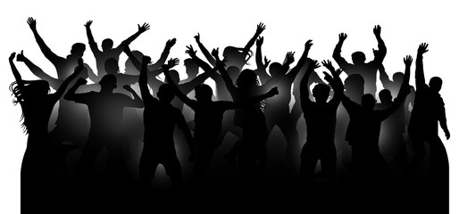 Crowd of cheerful people, dancing at the music concert, party, festival, club. Audience cheer hands up. Mob fans applauding, isolated silhouette vector. Sports fans applause