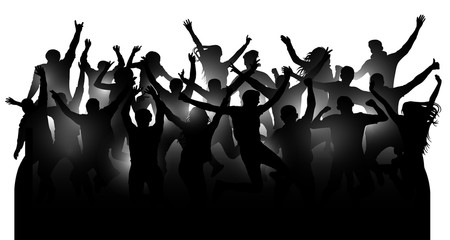 Crowd of cheerful people, dancing at the music concert, party, festival, club. Audience cheer hands up. Mob fans applauding, isolated silhouette vector