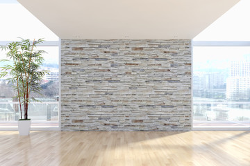 Modern bright interiors apartment with mockup poster frame 3D rendering