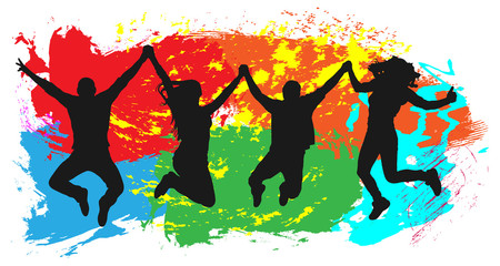 Jumping youth on colorful background. Jumps of cheerful young people, friends