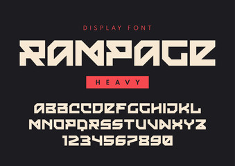 Vector modern heavy display font named Rampage, blocky typeface,