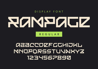 Vector modern regular display font named Rampage, blocky typefac