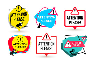 Set of Attention please. Badge with megaphone icons. Flat design. Vector illustration. Isolated on white background Wall mural