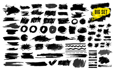 Set of black paint, ink brush strokes, brushes, lines, grungy. Dirty artistic design elements, boxes, frames. Freehand drawing. Vector illustration. Isolated on white background