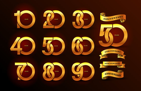 Set of anniversary pictogram gold icon. Flat design. 10, 20, 30, 40, 50, 60, 70, 80, 90, years birthday logo label, gold stamp. Vector illustration. Isolated on black background