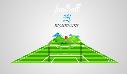 Football field with mountains