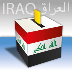 Iraq elections, box vote with flag, map and symbols