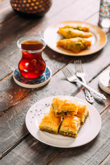 Traditional Baklava on Wooden Background