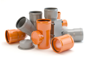 Gray and orange elements for sewer system