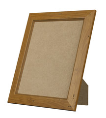 BROWN WOOD PICTURE FRAME STANDING UP ISOLATED ON WHITE BACKGROUND