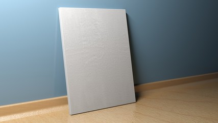 Canvas standing at blue wall - 3D rendering