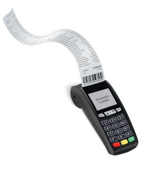 Credit Card trminal Machine with long shopping receipt. Realistic vector 3d illustration