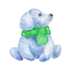 Snow puppy. Watercolor