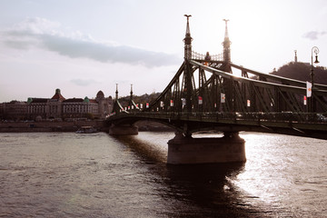 Beautiful view of Liberty bridge during sunset over the Danube in Budapest, Hungary
