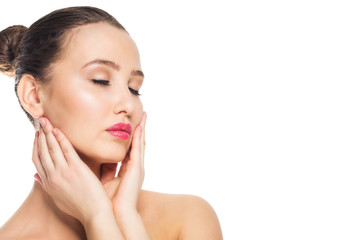 Beauty spa woman touching her face. Perfect fresh skin. Youth and skin care concept
