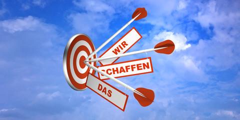 Pfeile auf Zielscheibe im Wolkenhimmel. Konzept zur Motivation. Mit Text in Deutsch: Wir schaffen das.  3d render