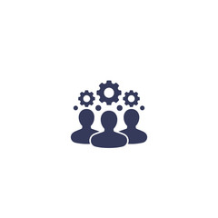 team interaction, HR, management icon on white