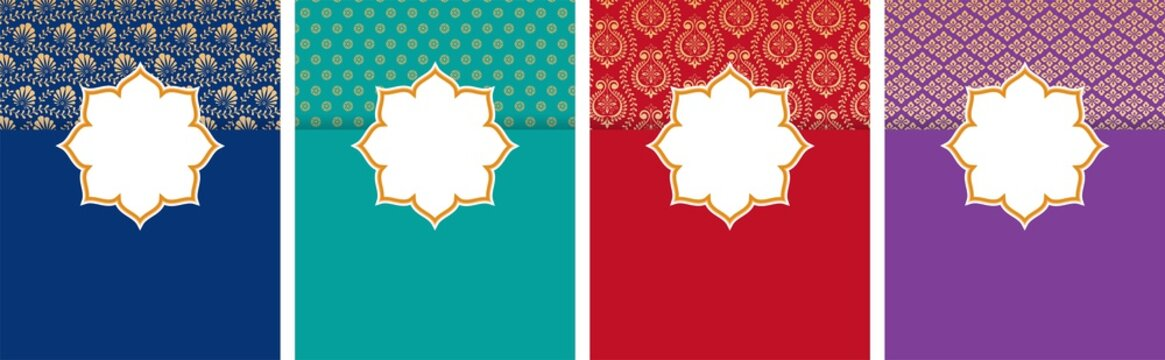 Indian, Arabic style flyer, poster design set with ethnic pattern and copy space
