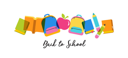 Back to school concept banner and background