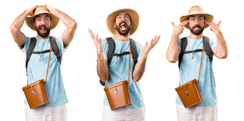 Set of Frustrated funny tourist