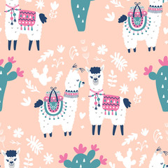 Cartoon Llama Alpaca Seamless Pattern. Hand Drawn Elements