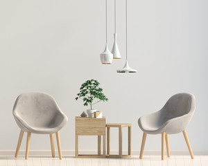 Modern interior with coffee table and chair. Wall mock up. 3d illustration.