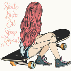 Beautiful teenager girl with pink hair sit on a skateboard. Fashion illustration