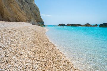 Porto Katsiki beach in Lefkada Ionian island in Greece. View of the turquoise sea waters of the ocean