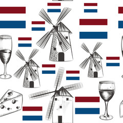 Illustration pattern with mills, Holland flag and cheese