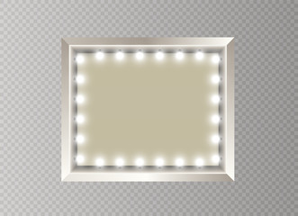 Hollywood lights. Illuminated realistic banner isolated on transparent background. Vector shine string bulbs. Las Vegas casino night party sign. Glowing lights billboard for advertising design.