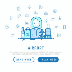 Airport concept with thin line icons: check-in counter, gates, boarding pass, escalator, toilet, baggage claim, wrapping service, duty free, departures. Vector illustration, web page template.