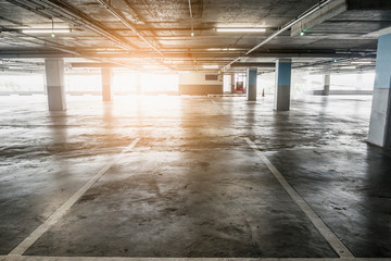 interior of empty vacant car parking garage in department store