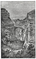 Entrance to Petra, historical and archaeological city in southern Jordan (from Das Heller-Magazin, December 13, 1834)