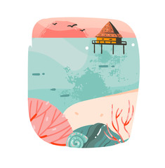 Hand drawn vector abstract cartoon summer time graphic illustrations template background logo design with ocean beach landscape,pink sunset and beach cabin house with copy space place for your design