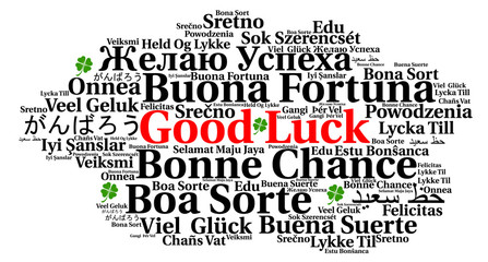 Good luck word cloud in different languages
