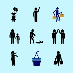 icons about Human with man, bags, girl, emotion and bully