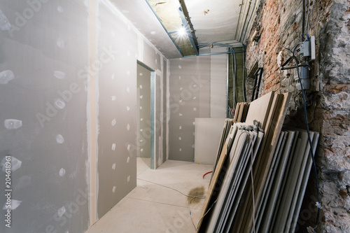 Metal frames, materials and plasterboard -drywall- for gypsum walls ...
