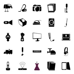 icons about Electronic with network, tablet, cosmic, iron and cash maschine
