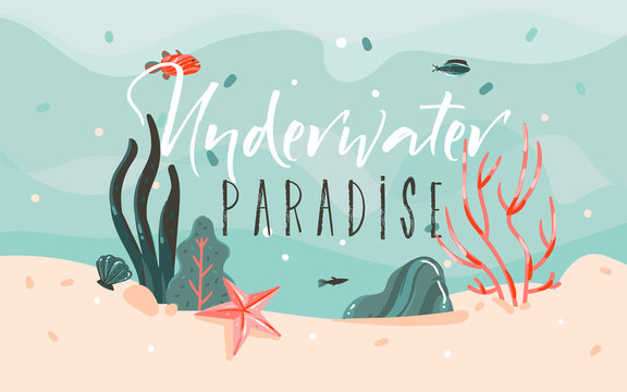Hand drawn vector abstract cartoon summer time graphic illustrations template background with ocean bottom,corals reefs,seaweed and Underwater Paradise typography quote isolated on blue water waves