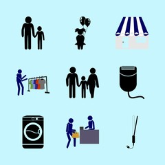 icons about Human with buyer, resturant, shopper, mother and clothes