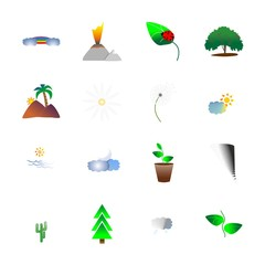 icon Nature with houseplant, dandelion, mountain, pot and fir-tree