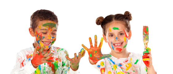 Happy children painting