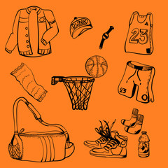 Doodle drawing icon basketball equipment