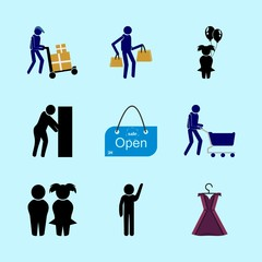 icons about Human with dress, wc, basket, store and shopper