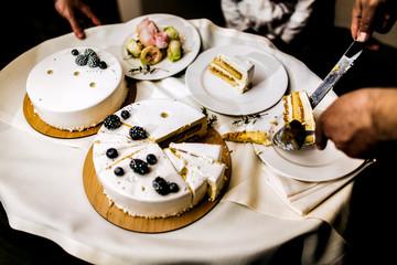 Sweet wedding cake in rustic style