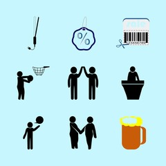 icons about Human with hair, customer, relationship, boy and desing