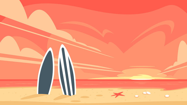 Sunrise and two surfboard
