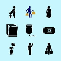 icons about Human with movie, woman, female, student and routine