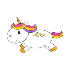Cute cartoon unicorn with multi-colored mane on a white background